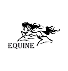 Andalusian horse running with flying mane symbol vector