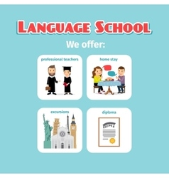 Benefits of abroad language school studying vector image