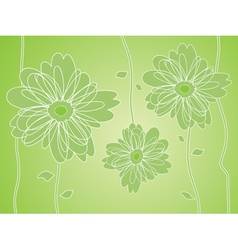 green flower silhouettes background vector image vector image