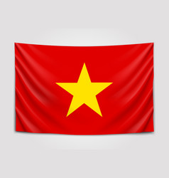 hanging flag of vietnam socialist republic of vector image