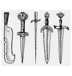 medieval symbols big set of swords knife and mace vector image