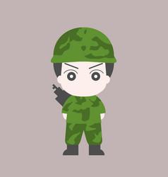 soldier cartoon flat design vector image vector image