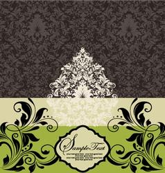 wedding card on damask background vector image vector image