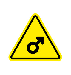 attention man male sign on yellow triangle road vector image vector image