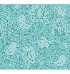 Blue floral seamless pattern with trees and birds vector image vector image