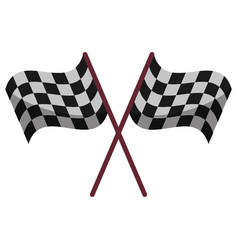 Crossed flag start racing design vector