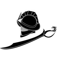 Gladiators helmet and sword vector