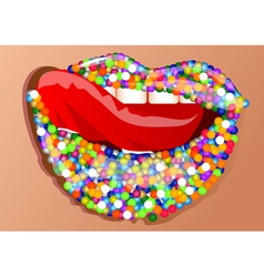 sprinkles on the lips vector image vector image