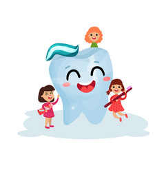 sweet little girls cleaning giant smiling tooth vector image