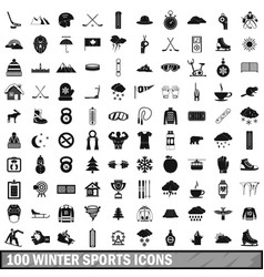 100 winter sport icons set simple style vector image
