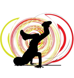 Breakdancer dancing on hand stand vector