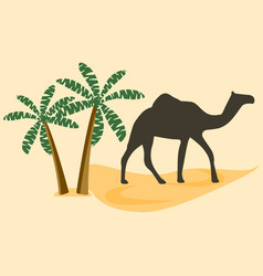 camel in the desert palm trees vector image vector image