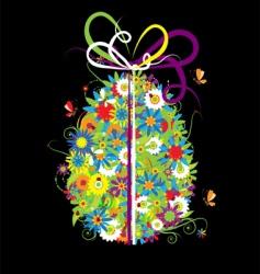 floral Easter egg on black vector image vector image