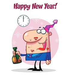 Happy Man Celebrating Happy New Year vector image