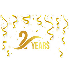 isolated golden color number 2 with word years vector image vector image