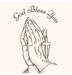 Prayer hand with cross vector image