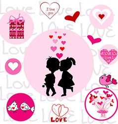 Set of round frames with Valentine elements vector image