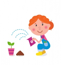 small girl is watering plant vector image vector image