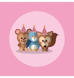 cute festive animals with party hat image vector image vector image