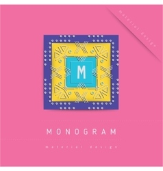 MONOGRAM icon in material design style vector image