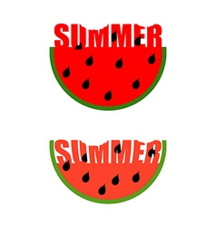 Summer logo Piece of watermelon with word summer vector image vector image