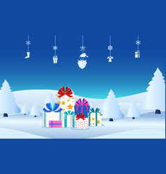 winter holiday christmas presents with ribbon bow vector image vector image