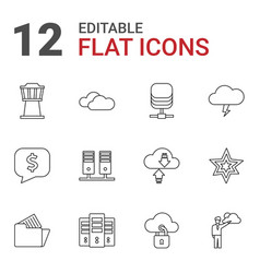 12 cloud icons vector image