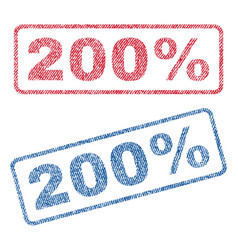 200 percent textile stamps vector image