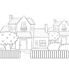 A coloring bookpage a cute house with treebushes vector