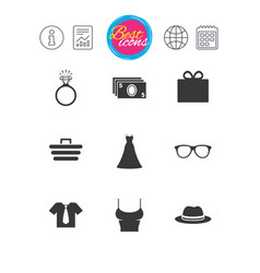 accessories clothes icons shopping signs vector image