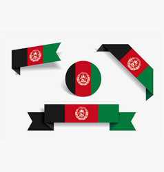 Afghanistan flag stickers and labels vector