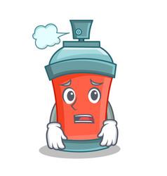 Afraid aerosol spray can character cartoon vector
