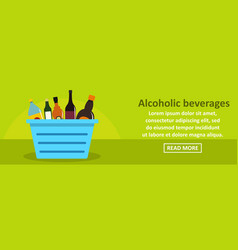 alcoholic beverages banner horizontal concept vector image