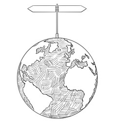 Artistic drawing of world globe with two decision vector
