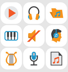 Audio flat icons set collection of portfolio vector
