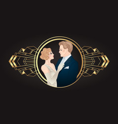 Beautiful couple in art deco style retro fashion vector