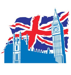 Big ben london with union jack vector