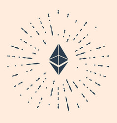 Black cryptocurrency coin ethereum eth icon vector