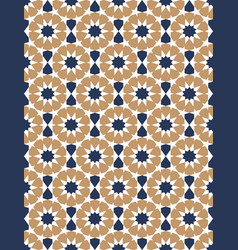 Blue and brown moroccan motif tile pattern vector