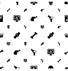 Bone icons pattern seamless white background vector
