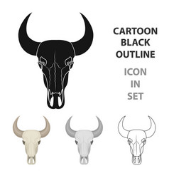 bull skull icon in cartoon style isolated on white vector image