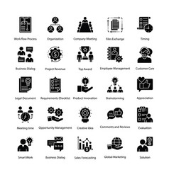 business management glyph icons set vector image
