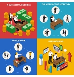 Business Office 4 Isometric Icons Square vector image