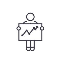 businessman with growth graph linear icon sign vector image