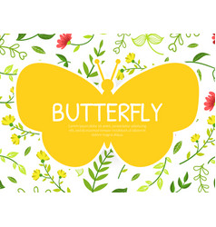 butterfly banner template with floral pattern and vector image