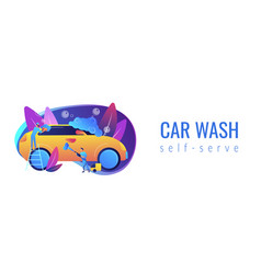 car wash service concept banner header vector image