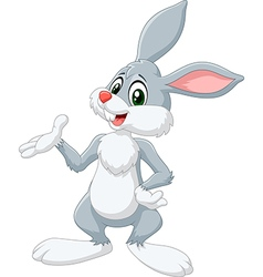 Cartoon bunny presenting isolated vector image