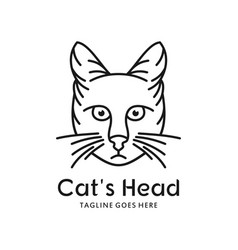 cat head logo outline vector image