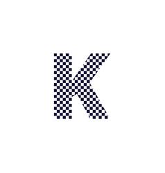 Checker pattern logo letter k vector