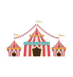 Circus tent tops red and white stripes flag on vector